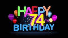 Happy 74th Birthday Title seamless looping Animation - stock footage