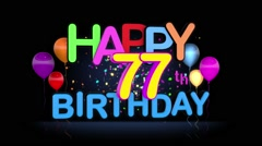 Happy 77th Birthday Title seamless looping Animation Stock Footage