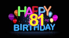 Happy 81st Birthday Title seamless looping Animation Stock Footage