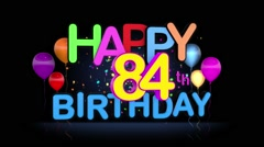 Happy 84th Birthday Title seamless looping Animation Stock Footage
