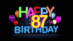Happy 87th Birthday Title seamless looping Animation Stock Footage