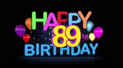 Happy 89th Birthday Title seamless looping Animation Stock Footage