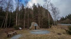 4k Ex German-German borderline stone monument Harz mountain range Stock Footage