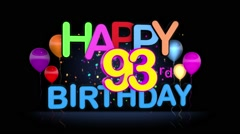 Happy 93rd Birthday Title seamless looping Animation Stock Footage