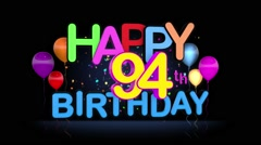Happy 94th Birthday Title seamless looping Animation Stock Footage