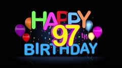 Happy 97th Birthday Title seamless looping Animation Stock Footage