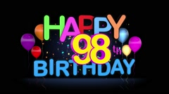 Happy 98th Birthday Title seamless looping Animation Stock Footage