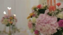 Stock Video Footage of Festive floral decorations with candles