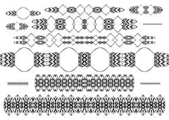 Hand drawn floral borders, dingbats, dividers - stock illustration