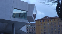 Corner MAXXI building Stock Footage
