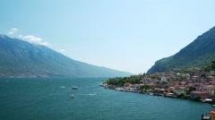 Beautiful view to the Limone Sul Garda and Lago di Garda lake, Northern Italian Stock Footage
