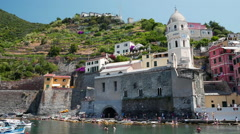 The little harbour of Vernazza in the Cinque Terre Stock Footage