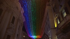 Rainbow lighting in Via del Corso during the holidays Stock Footage