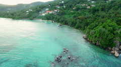 Aerial view of Anse Royale on Mahe Island, Seychelles. Stock Footage