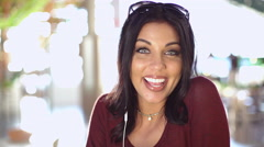 Hispanic female in mall making video diary USA - stock footage