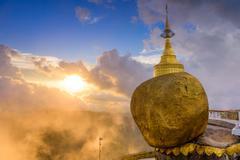 Golden Rock of Myanmar - stock photo