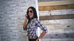 USA Hispanic female making video diary on smart phone mall Stock Footage