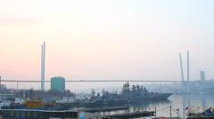 Zolotoy Rog Bay in Vladivostok Stock Footage