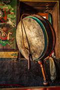 Gong in Lamayuru gompa, Ladakh, India - stock photo