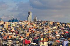 unplanned urbanization is a great problem for metropolis like Istanbul city - stock photo