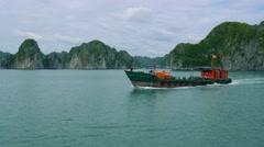 POV Ha Long Bay (Descending Dragon Bay), Vietnam, UNESCO World Heritage Site Stock Footage