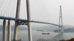 Russian bridge in Vladivostok Stock Footage