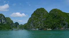 4k ha long bay vietnam dragon cruise ship paradise beach landscape tropical - stock footage