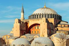 Hagia Sophia in Istanbul with nice blue sky - stock photo