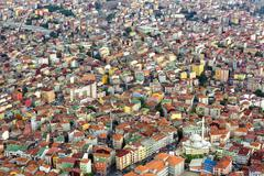 Unplanned urbanization is a great problem for metropolis like Istanbul city Stock Photos