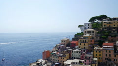 Picturesque view of Riomaggiore city, Cinque Terre, Liguria, Italy Stock Footage