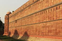 Surrounding wall of Red Fort, Delhi, India - stock photo
