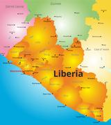 color map of Liberia country - stock illustration
