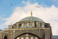Detail of the dome of the Ottoman mosque - Kilic Ali Pasa Mosque -  in Istanb - stock photo