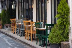Exterior of a cafe in Karakoy streets,Istanbul , - stock photo