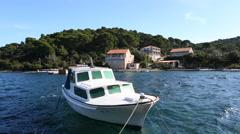 Boat in Pomena harbour, Mljet, Croatia Stock Footage