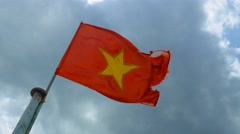 Flag of Vietnam. Vietnamese official flag gently waving in the wind Stock Footage