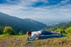 Woman practices yoga asana Chaturanga Dandasana Stock Photos