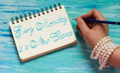 Every Monday is a New Chance inspirational quotes lettering for postcards, bu Stock Photos