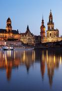 Katholische Hofkirche and River Elbe, Dresden, Free State of Saxony, Germany Stock Photos