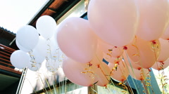 Lots of Festive White and Pink Balloons With Helium Stock Footage