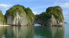 Impressive carst limestone cliffs of ha long bay Vietnam Stock Footage