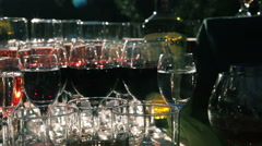 Many Shots of Vodka and Glasses of Sparkling Wine Stand on a Serving Table - stock footage