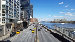 NEW YORK - MARCH 20, 2016: Road traffic on  FDR drive Stock Footage