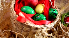 Quail Easter eggs in baskets Stock Footage
