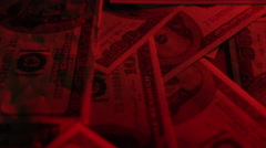 American Money - Illegal Activities - Police Lights on cash Stock Footage
