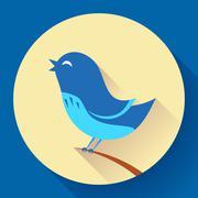 Bird singing vector icon. Flat design style - stock illustration