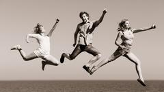 Stock Photo of Carefree friends jumping by sea ocean water.