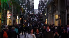 People crowd walk at Carrer Ferran, slow motion, twiligh time Stock Footage