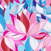 Beautiful lotus flower pattern - stock illustration