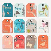 Spring floral gift tag design, with hand drawn flowers - stock illustration